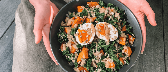 Winter Kumara & Kale Salad With Tahini Dressing